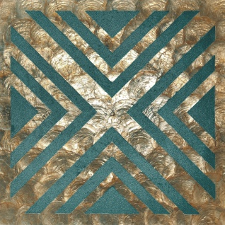 Luxus Muschel Wandverkleidung Wallface LU010-5 CAPIZ Dekorfliesen Set handgearbeitet mit echten Muscheln und Glasperlen Perlmutt Optik bronze grün-blau beige 1 m2