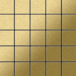 Mosaik Fliese massiv Metall Titan gebürstet in gold 1, 6mm stark ALLOY Century-Ti-GB 0, 5 m2