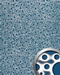 Wandpaneel Wandverkleidung Kunststoff WallFace 11712 BUBBLE Design Platte Blickfang Dekor selbstklebende Tapete blau silber | 2, 60 qm