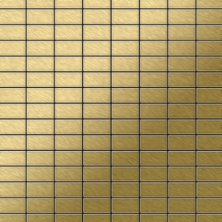 Mosaik Fliese massiv Metall Titan gebürstet in gold 1, 6mm stark ALLOY Bauhaus-Ti-GB 1, 05 m2