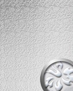 3D Wandpaneel WallFace 13414 FLORAL Leder Dekor Barock Blumen selbstklebende Tapete Verkleidung weiß silber 2, 60 qm