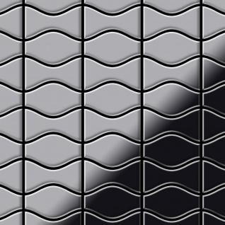 Mosaik Fliese massiv Metall Edelstahl hochglänzend in grau 1, 6mm stark ALLOY Kismet & Karma-S-S-M Designed by Karim Rashid 0, 86 m2