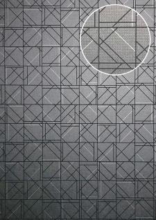 Grafik Tapete ATLAS XPL-591-7 Vliestapete strukturiert mit geometrischen Formen glänzend platin graphit-grau grau hell-grau 5, 33 m2