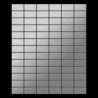 Mosaik Fliese massiv Metall Edelstahl marine gebürstet in grau 1, 6mm stark ALLOY Bauhaus-S-S-MB 1, 05 m2 - Vorschau 3