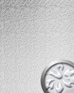 3D Wandpaneel WallFace 13414 FLORAL Luxus Leder Dekor Barock Blumen selbstklebende Tapete Verkleidung weiß silber   2, 60 qm