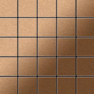 Mosaik Fliese massiv Metall Titan gebürstet in kupfer 1, 6mm stark ALLOY Century-Ti-AB 0, 5 m2