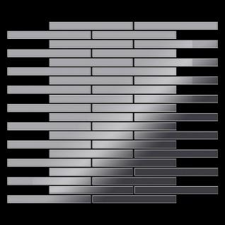 Mosaik Fliese massiv Metall Edelstahl marine hochglänzend in grau 1, 6mm stark ALLOY Avenue-S-S-MM 0, 74 m2 - Vorschau 3
