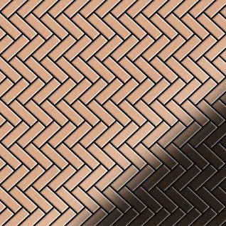 Mosaik Fliese massiv Metall Kupfer gewalzt in kupfer 1, 6mm stark ALLOY Herringbone-CM 0, 85 m2