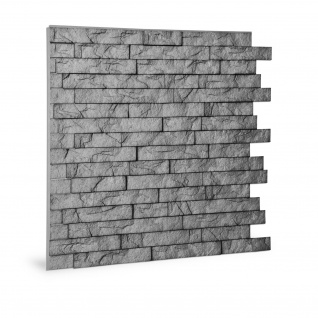 Wandpaneel 3D Profhome 3D 704500 Ledge Stone Portland Cement Dekorpaneel geprägt in Stein Optik glänzend grau 2 m2