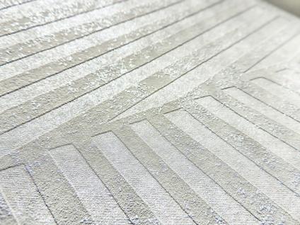 Grafik Tapete ATLAS HER-5138-3 Vliestapete geprägt mit Streifen schimmernd elfenbein perl-hell-grau silber 7, 035 m2 - Vorschau 2