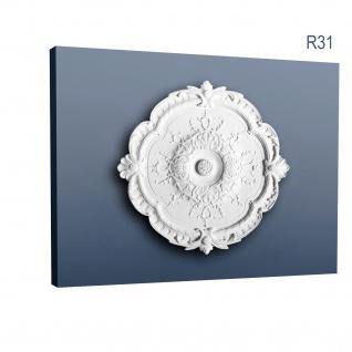 Stuckrosette Stuck Orac Decor R31 LUXXUS Rosette Decken Wand Dekor Element weiß hochwertig stabil 38, 5 cm Durchmesser