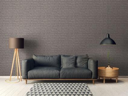 Stein Kacheln Tapete Profhome 374143-GU Vliestapete glatt in Steinoptik matt grau schwarz 5, 33 m2 - Vorschau 4