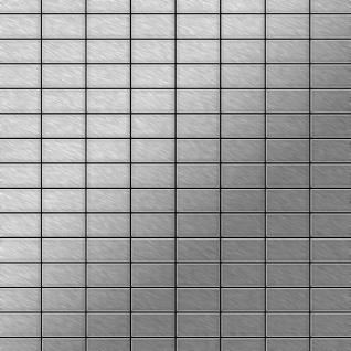Mosaik Fliese massiv Metall Edelstahl marine gebürstet in grau 1, 6mm stark ALLOY Bauhaus-S-S-MB 1, 05 m2