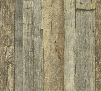 Holz Tapete Profhome 959313-GU Vliestapete glatt in Holzoptik matt grau weiß beige 5, 33 m2
