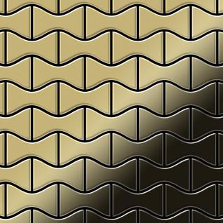 Mosaik Fliese massiv Metall Messing gewalzt in gold 1, 6mm stark ALLOY Kismet-BM Designed by Karim Rashid 0, 86 m2