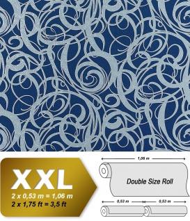 3D Vliestapete Grafiktapete XXL EDEM 971-37 Design geschwungene Linien abstraktes Wirbelmuster Blau silbergrau 10, 65 qm