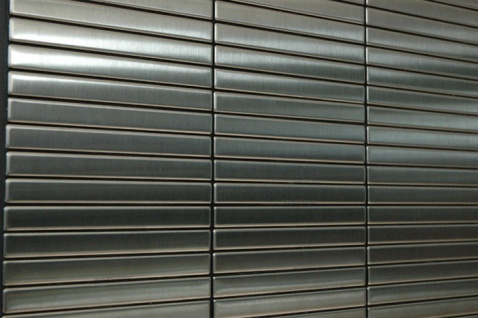 Mosaik Fliese massiv Metall Edelstahl gebürstet in grau 1, 6mm stark ALLOY Linear-S-S-B 0, 94 m2 - Vorschau 4