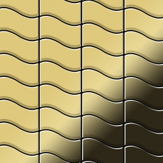 Mosaik Fliese massiv Metall Messing gewalzt in gold 1, 6mm stark ALLOY Flux-BM Designed by Karim Rashid 0, 86 m2