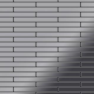 Mosaik Fliese massiv Metall Edelstahl hochglänzend in grau 1, 6mm stark ALLOY Deedee-S-S-M 0, 78 m2