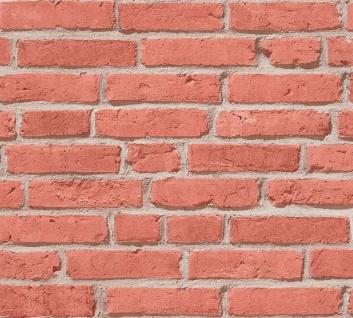 Stein Kacheln Tapete Profhome 355811-GU Vliestapete leicht strukturiert mit Natur-Mustern matt rot beige 5, 33 m2