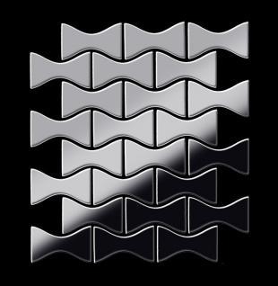 Mosaik Fliese massiv Metall Edelstahl marine hochglänzend in grau 1, 6mm stark ALLOY Kismet-S-S-MM Designed by Karim Rashid 0, 86 m2 - Vorschau 3
