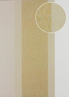Streifen Tapete Atlas PRI-546-4 Vliestapete glatt in Textiloptik und Metallic Effekt oliv oliv-grau gold kiesel-grau 5, 33 m2