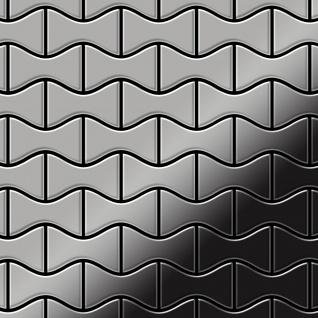 Mosaik Fliese massiv Metall Edelstahl marine hochglänzend in grau 1, 6mm stark ALLOY Kismet-S-S-MM Designed by Karim Rashid 0, 86 m2