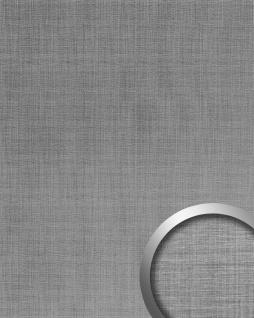 Wandpaneel Metalloptik WallFace 20203 Refined Metal Silver AR Wandverkleidung glatt in gebürsteter Metall-Optik und mit metallischen Akzenten selbstklebend abriebfest silber silber-grau 2, 6 m2