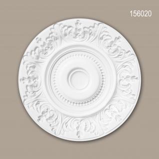 Rosette PROFHOME 156020 Zierelement Deckenelement Rokoko Barock Stil weiß Ø 47, 0 cm