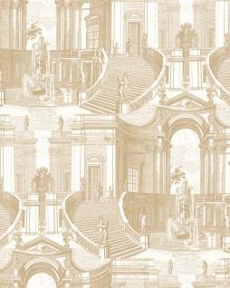 Ton-in-Ton Tapete Profhome VD219153-DI heißgeprägte Vliestapete geprägt à la Toile de Jouy dezent schimmernd gold creme-weiß 5, 33 m2