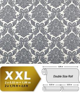 Barock Tapete EDEM 9014-30 Vliestapete geprägt mit Ornamenten glänzend weiß silber grau 10, 65 m2
