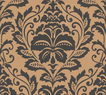 Barock Tapete Profhome 369104-GU Vliestapete glatt im Barock-Stil glänzend gold braun 5, 33 m2