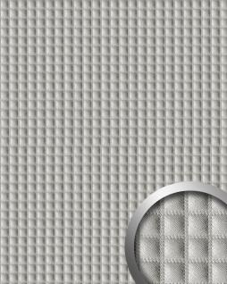 Wandpaneel Quadrat Leder Luxus 3D Blickfang WallFace 16422 QUADRO Dekor selbstklebende Tapete silber-grau | 2, 60 qm