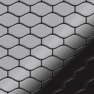 Mosaik Fliese massiv Metall Edelstahl marine hochglänzend in grau 1, 6mm stark ALLOY Karma-S-S-MM Designed by Karim Rashid 0, 86 m2