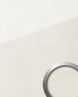 Dekorpaneel Leder Optik WallFace 19305 LEGUAN Bianco Wandverkleidung glatt in Glas Optik glänzend selbstklebend abriebfest weiß 2, 6 m2