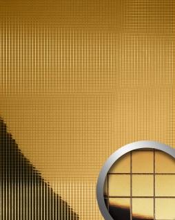 Wandpaneel Wandverkleidung WallFace 10581 M-Style Design Blickfang Metall Mosaik Fliesen selbstklebend spiegel gold | 0, 96 qm