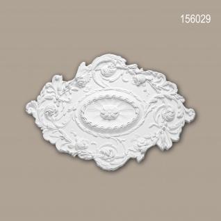 Rosette PROFHOME 156029 Zierelement Deckenelement Rokoko Barock Stil weiß 76, 7 x 53, 2 cm