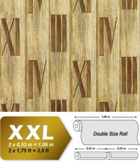 Holz Tapete Vliestapete EDEM 945-22 Hochwertige Tapete in Holzoptik Holzdielen Römische Zahlen Deko grün antik 10, 65 qm