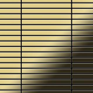 Mosaik Fliese massiv Metall Messing gewalzt in gold 1, 6mm stark ALLOY Linear-BM 0, 94 m2