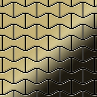Mosaik Fliese massiv Metall Messing gewalzt in gold 1, 6mm stark ALLOY Kismet-BM Designed by Karim Rashid 0, 86 m2