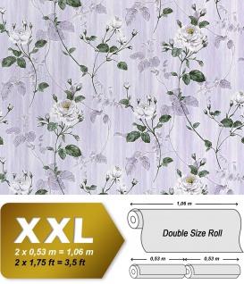 Vliestapete 3D Blumentapete EDEM 975-34 XXL Floral Rosen Tapete Vintage-Muster Barock hell-lila weiß grau-grün 10, 65 qm