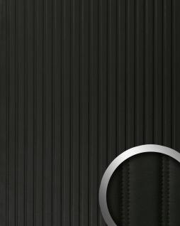 Wandpaneel Leder Design gesteppt Wandplatte WallFace 18604 LOUNGE Wandverkleidung selbstklebend schwarz matt | 2, 60 qm