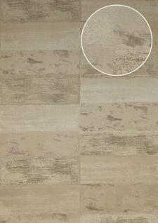Stein-Kacheln Tapete Atlas ICO-5072-4 Vliestapete glatt mit Natur-Mustern schimmernd beige hell-elfenbein grau-beige 7, 035 m2 - Vorschau 1