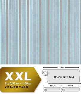 Streifen Tapete XXL Vliestapete EDEM 994-37 Heißgeprägte fühlbare Struktur Luxus Tapete blau hellblau grün mint grau 10, 65 m2
