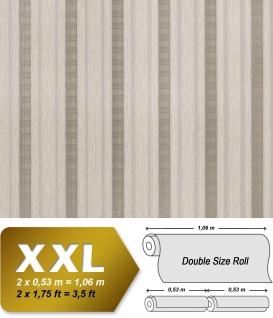 Streifen Tapete Vliestapete EDEM 640-93 Textilstruktur mit Karomuster XXL Tapete beige taupe braun silber 10, 65 qm