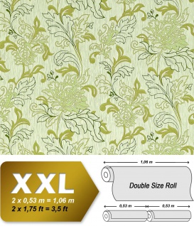 Blumen Tapete Vliestapete EDEM 604-95 Landhaus Blumentapete XXL florales Muster mit Blättern grün hell-grün 10, 65 qm