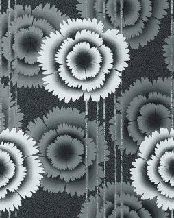 Blumen Tapete EDEM 056-20 Blumentapete Floral Designer Retro 70er Style Schwarz weiß anthrazit-grau silber