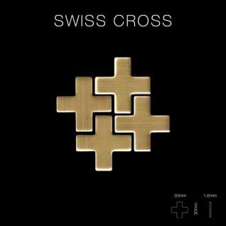 Mosaik Fliese massiv Metall Titan gebürstet in gold 1, 6mm stark ALLOY Swiss Cross-Ti-GB 0, 88 m2 - Vorschau 2