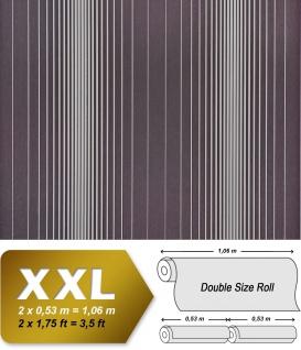 Streifen Tapete XXL Vliestapete EDEM 934-39 Hochwertige heißgeprägte Struktur Metallic Effekt schwarz-grau grau silber metallic 10, 65 m2