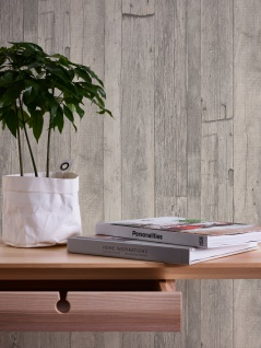 Holz Tapete Profhome 959311-GU Vliestapete glatt in Holzoptik matt grau weiß beige 5, 33 m2 - Vorschau 3